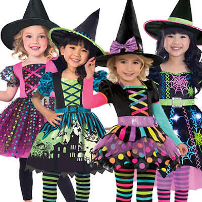 Witch Girls Fancy Dress Halloween Wicked Spooky Toddler Childrens Kids - Spooky Kids Halloween Costumes