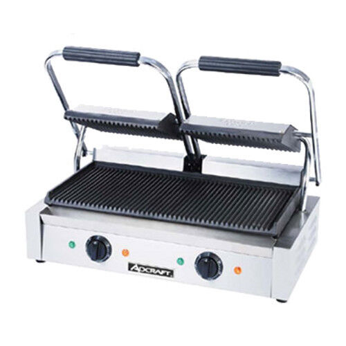 "Adcraft Sg-813 19"" Countertop Double Sandwich Grill Grooved Plates"