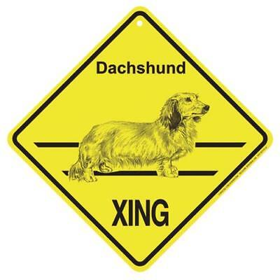 Dachshund Long Haired Dog Crossing Xing Sign New made in USA