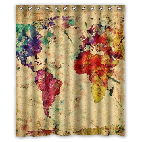 Special design custom world map shower curtain 60 x 72 inches with special design new custom world map shower curtain 60 x 72 inches with 12 hooks gumiabroncs Choice Image