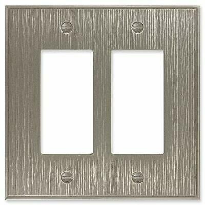 Double Rocker - Brushed Nickel Light Switch Cover Twill Cast Metal Decorative...