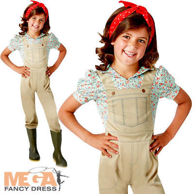 Land Girls Fancy Dress 1930s 40s Farmer Factory Worker Kid Childs Costume Outfit