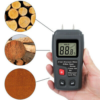 Digital Lcd Humidity Wood Moisture Meter 0-99.9 Firewood Electrode Detector Us