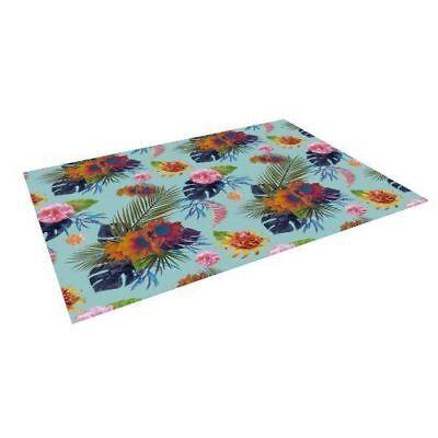 "Kess InHouse Nika Martinez ""Tropical Floral"" Blue Flowers Floor Mat"
