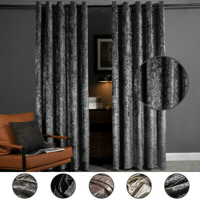curtains - Luxury Crushed Velvet Pair Fully Lined Ready Made Ring Top Eyelet Curtains Grey