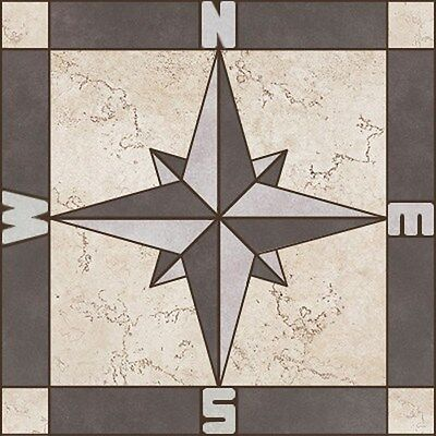 """Porcelain Tile Compass Rose Mosaic Medallion -Sizes: 12"""",16"""", 24"""", 32"""", 40"""", 48"""""""