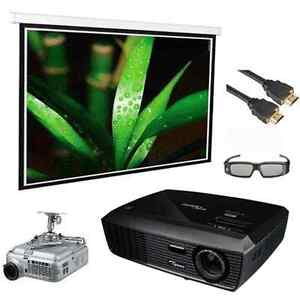 5 Pcs 3D Optoma H180X Home theater Projector Bundle/150 Electric Screen Grey