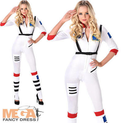 Astronaut Girl Costume (Astronaut Ladies Fancy Dress Space Girl Uniform Womens Adults Costume Outfit)