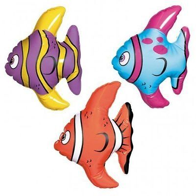 Tropical Fish Inflate (3 MINI INFLATABLE TROPICAL FISH FINDING DORY NEMO UNDER THE SEA PARTY DECORATION )