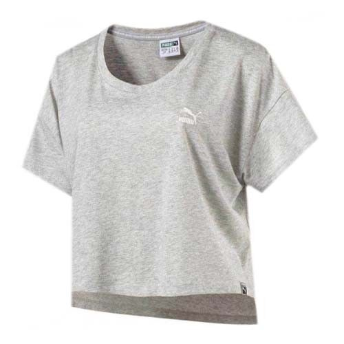 c9084bddce5937 Details about Puma Archive Logo Light Grey Womens Cropped Tee Top T-Shirt  572482 04 RW31