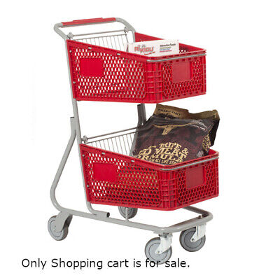 Plastic Double Basket Shopping Cart In Red 18.5 W X 29 D X 41 H Inches