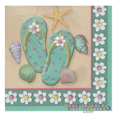 Flip-flop Party Supplies (SUMMER Flip Flop Beach LUNCH NAPKINS (16) ~ Birthday Party Supplies Large Dinner)