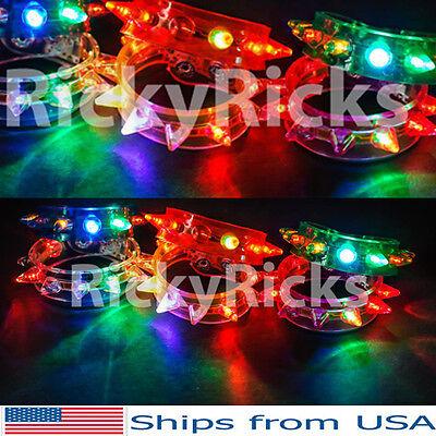 12 Light-Up Spike Bracelets Wristbands LED Flashing Glow Blinking Spikey Rave