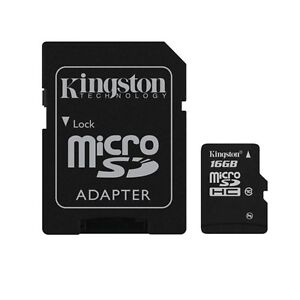 Kingston microSDHC 16 GB (Class 10) with SD Adapter SDC10/16GB