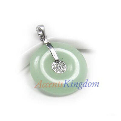Sterling Silver Ss925 Green Jade Lucky Disc Pendant