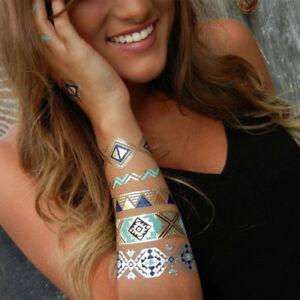 Henna metallic foil temporary tattoo designs - fake tattoos