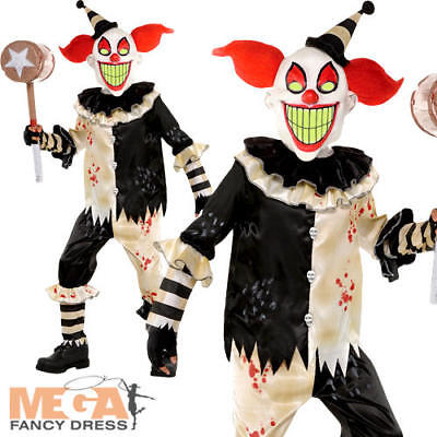 Horror Clown Boys Halloween Fancy Dress Circus Childrens Kids Costume Outfit