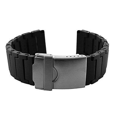 22mm Black Polyurethane Rubber Link Bracelet Watch Band Luminox 3050 3950 - Black Link Bracelet