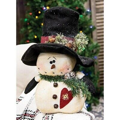 country rustic primitive Christmas Chubby Snowman w Top Hat Heart 17