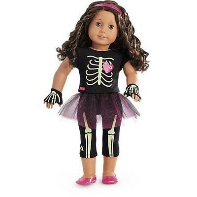 AMERICAN GIRL DOLL-AG Truly Me Glow in Dark Halloween Skeleton Outfit-8 pcs, NEW](Ag Doll Halloween)