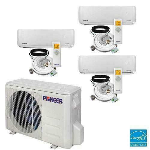 Tri 3 Zone 12000+12000+12000 Multi 22 SEER Ductless Mini Split A/C Heat Pump