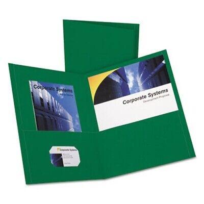 Oxford Twin-pocket Folder Embossed Leather Grain Paper Hunter Green Oxf57556