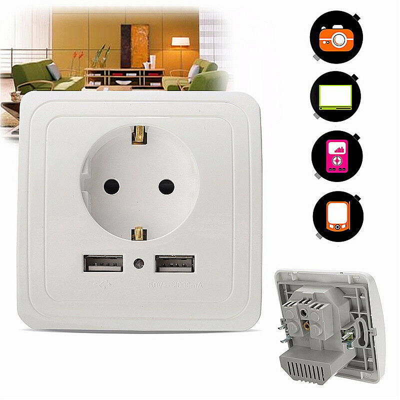 5v 2a prise de courant douille 2 usb mural electrique chargeur adaptateur socket ebay. Black Bedroom Furniture Sets. Home Design Ideas
