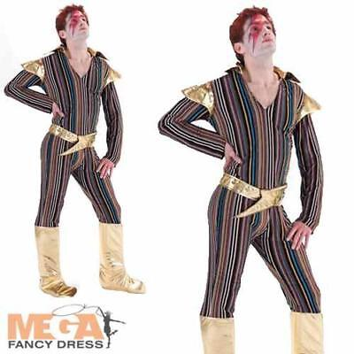 Ziggy Stardust Mens Fancy Dress David Bowie 1970s Pop Star Adult 70s Costume New
