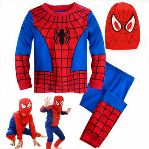 US Ship Kids Boys Spiderman Cosplay Costume Superhero Fancy Outfit Dress Clothes