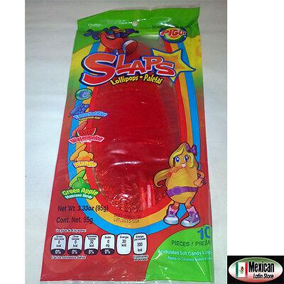 Slaps Cachepigui  Cachetadas  Tropical Fruit Lollipop Mexican Candy 10Pc