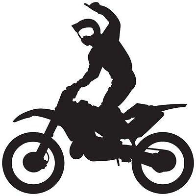 MOTOCROSS DIRT BIKE SPORT SUPERMAN RIDING WINDOW BOAT VINYL DECAL STICKER