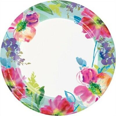 Painterly Floral 9 Inch Paper Plates Watercolor Spring Flower Floral Party - Flower Party Plates