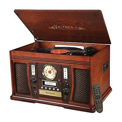Victrola 7-in-1 Bluetooth Record Player with CD Recording Mahogany