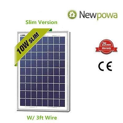 NewPowa 10W Watt 12V Poly Solar Panel Module Marine Off Grid 3ft wire