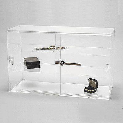 Acrylic Display Showcase Sliding Doors W Two Shelves 21 14 X 7 12 X 13 14h