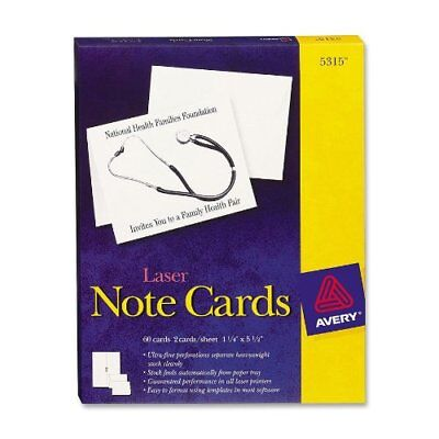 """Avery Note Card - For Laser Print - 4.25"""" X 5.50"""" - 60 / Box - White (AVE5315)"""