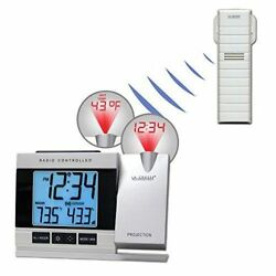 Projection Alarm Clock LED Atomic Indoor/Outdoor Temperature Weather Projector