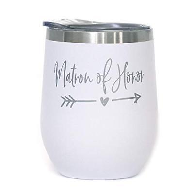 Matron of Honor - 12 oz White Stainless Steel Stemless Wine Tumbler with Lid - |