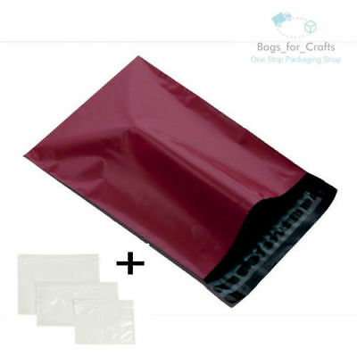 10 Mailing Bags & A7 Doc Wallets BURGUNDY 4.5 x 6.5