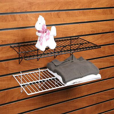 Slatwall Wire Shelf - Gridwall Wire Shelf - 12 X 24 - White - Lot Of 6
