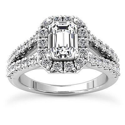 Diamond Engagement Ring 2.70 Carat VS2/F Emerald Cut 14k White Gold 3