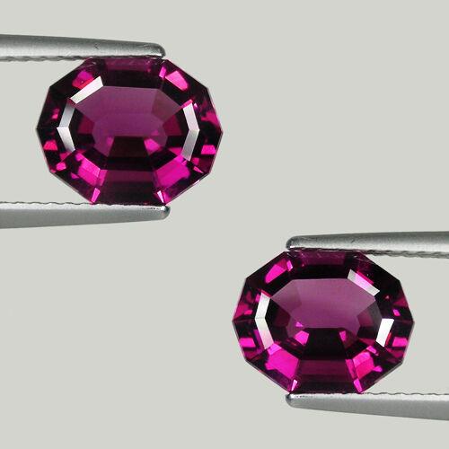 5.85 ct HOT LUSTROUS BEST  PURPLE PINK - NATURAL  RHODOLITE GARNET- Pair 3311 LN