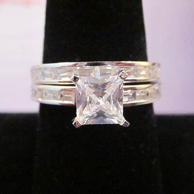 Modern STERLING SILVER White Gold 5 Brilliant Square Cut CZ 2 Ring Wedding Sz 7  ()