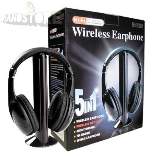 CUFFIA CUFFIE WIRELESS 5 in 1 SENZA FILI WI-FI MICROFONO EARPHONE TV MUSIC  PC b2c8603aa243