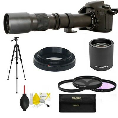 500MM 1000MM TELEPHOTO ZOOM LENS FOR CANON EOS REBEL 400D XTI T4I T5I T3I T3 T6  for sale  Shipping to Canada