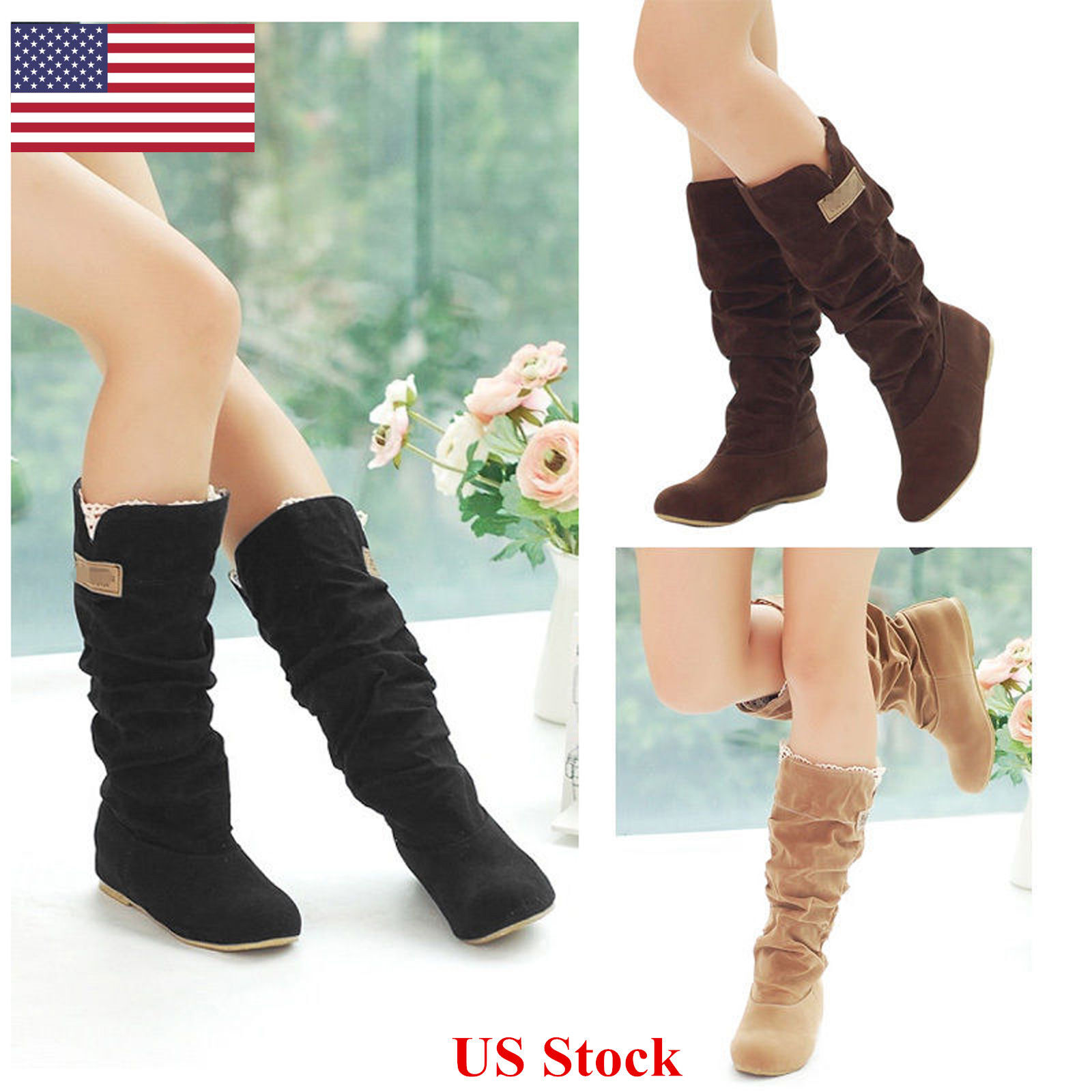 Boots - US Women's Fashion Boots Shoes Slouch Flat Mid Calf Knee High Riding Round Toe