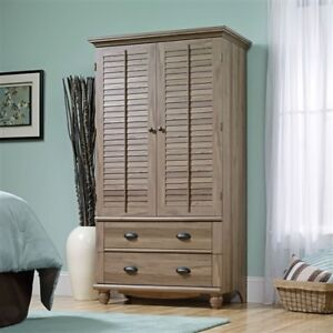 Wardrobe Cabinet Bedroom Storage or TV Armoire in Medium Brown .
