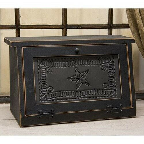 NEW! Primitive Farmhouse Punched Tin Star Black Wood Bread Box
