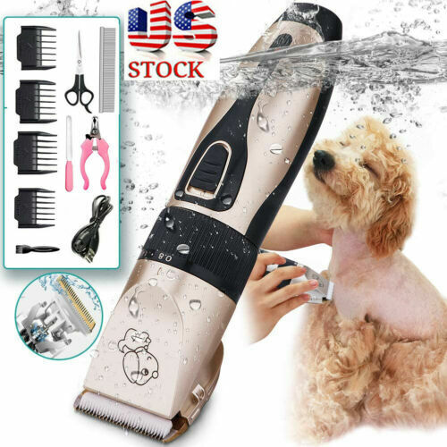 Dog Cat Pet Grooming Kit Rechargeable Cordless Electric Hair Clipper Trimmer