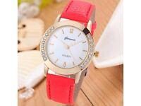 Women Geneva Fashion Diamond Analog Leather Quartz Wrist Watch